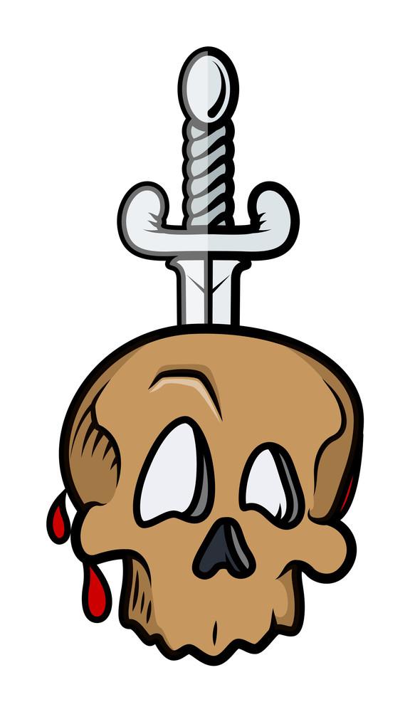Dagger In Skull Vector Illustration