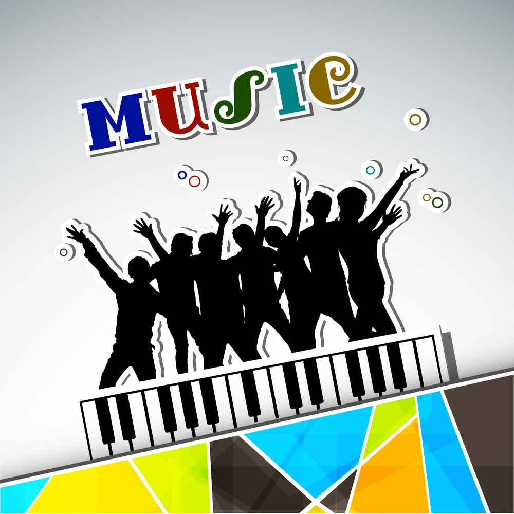 Dance Party Background With Silhouette Of Rock Band And Stylish Music Text.