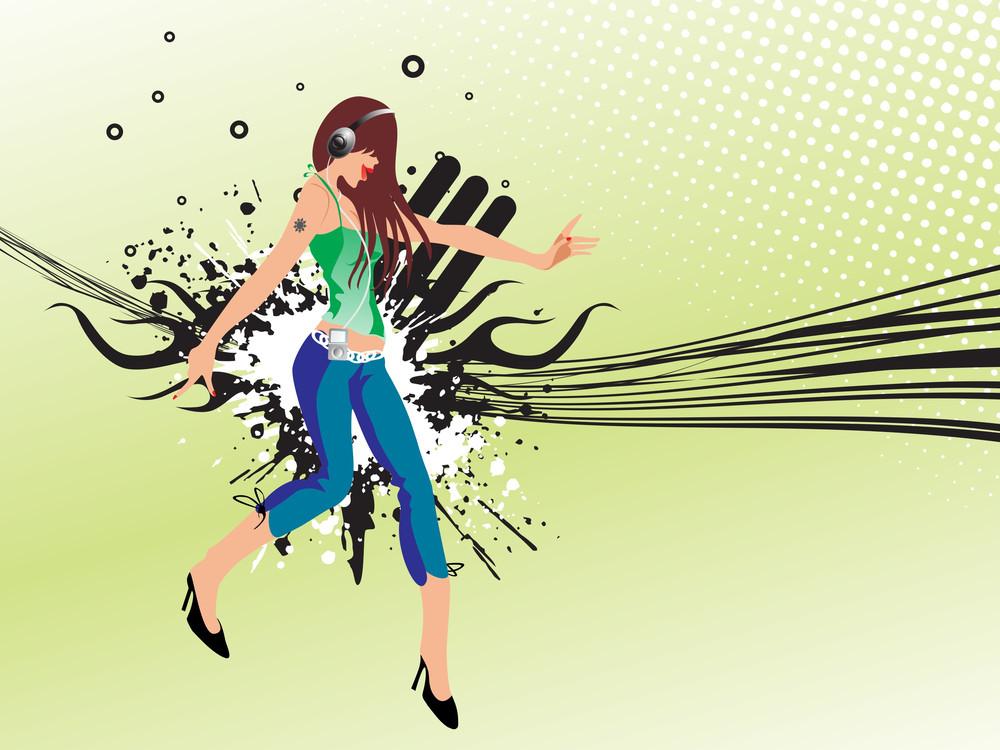 Dancer On Grunge Retro Background
