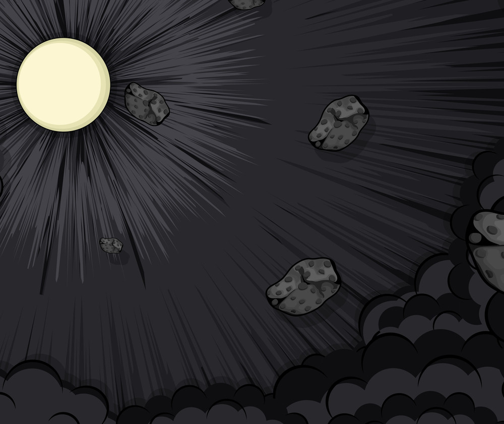 Dark Asteroids Clouds In Moon Light