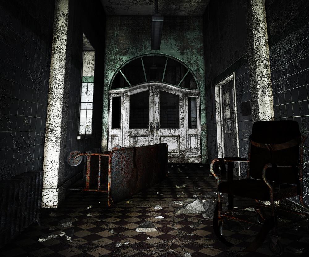 Dark Asylum Interior Background