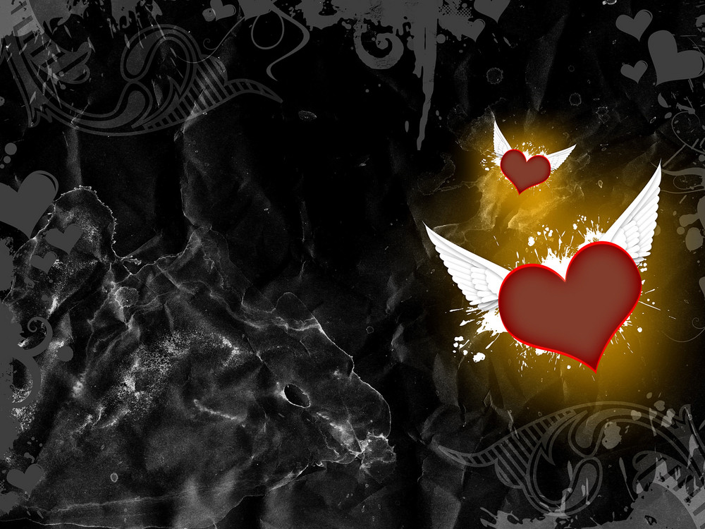 Dark Flying Heart Background