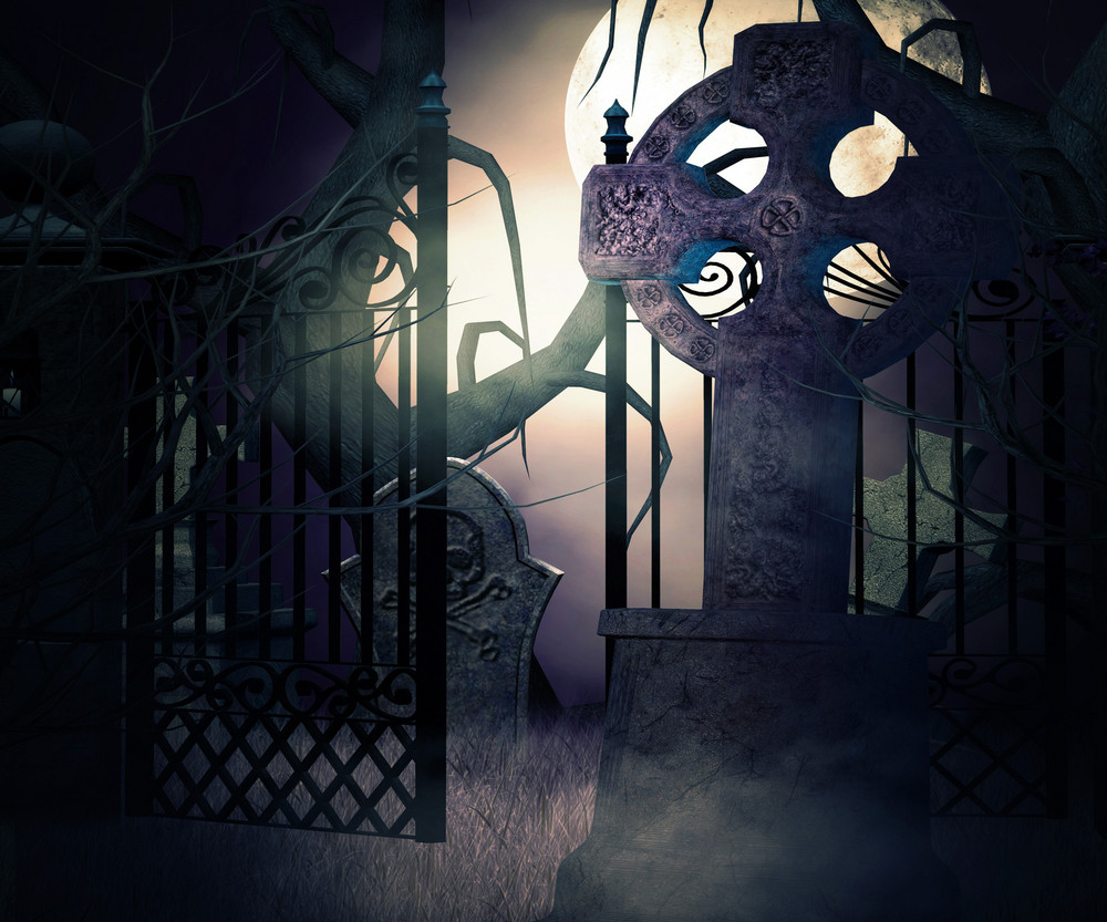 Dark Graveyard Gate Background