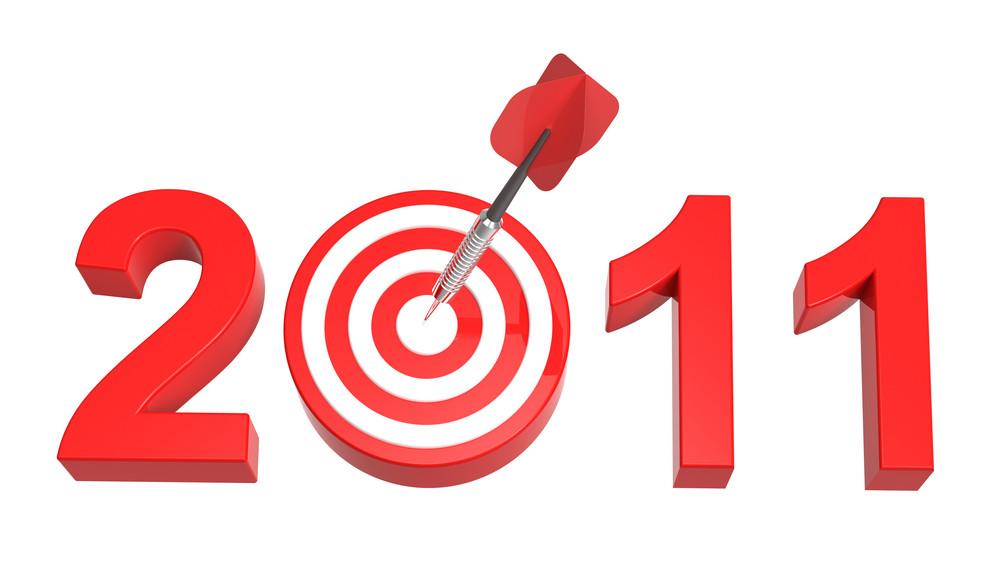 Dart Hitting Target - New Year 2011 Isolated On White.