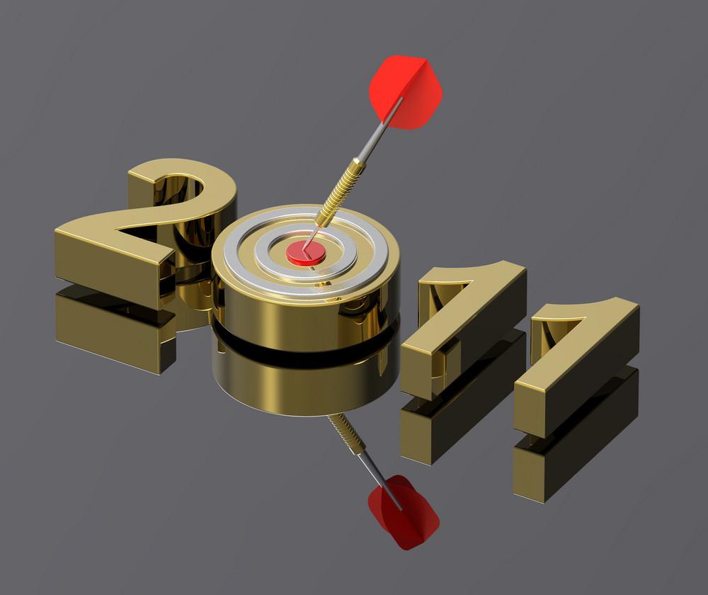 Dart Hitting Target - New Year 2011 Isolated
