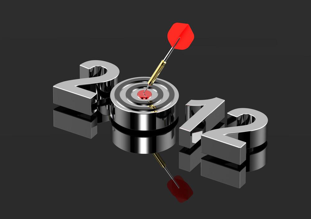 Dart Hitting Target - New Year 2012 Isolated On Shiny Black.