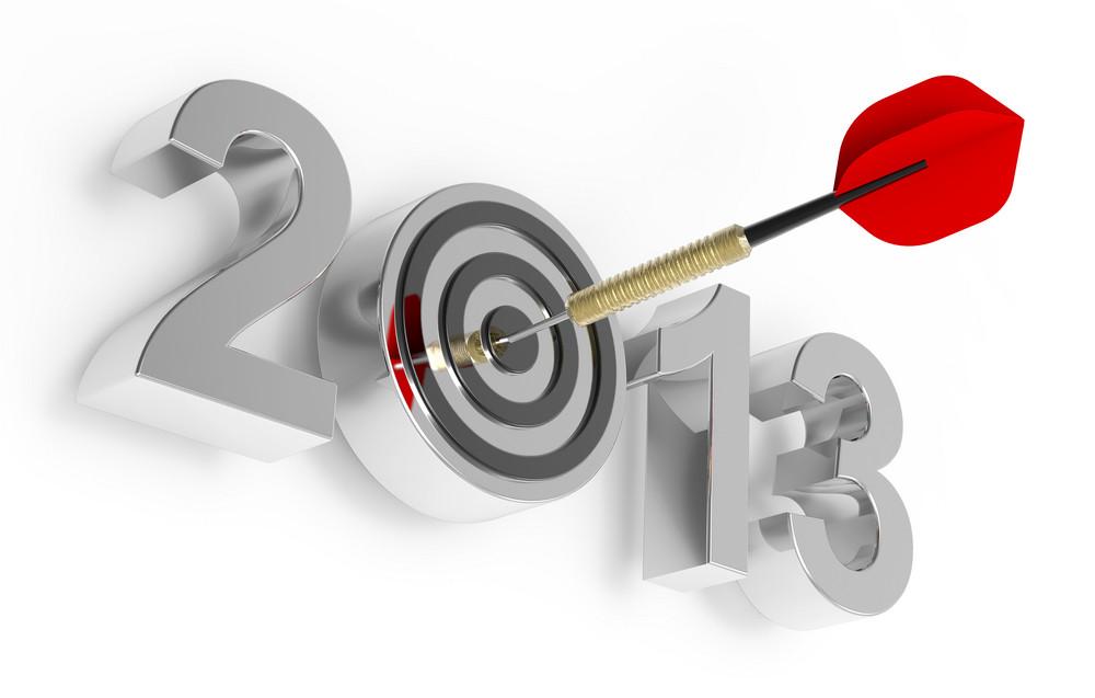 Dart Hitting Target - New Year 2013 Isolated On White.