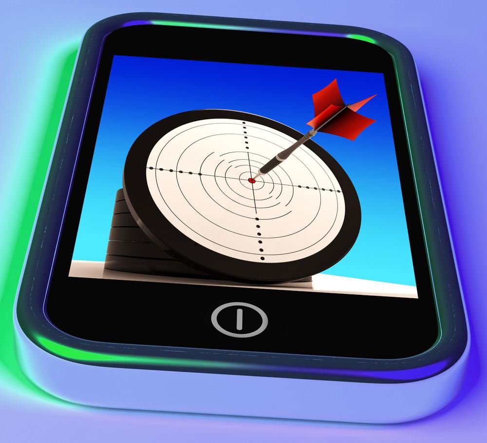 Dartboard On Smartphone Shows Effective Shooting
