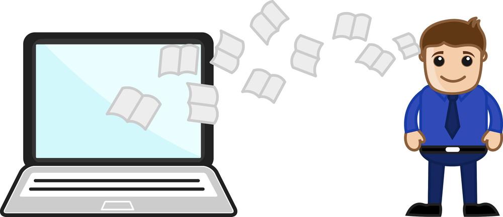 Data Transfer - Cartoon Office Vector Illustration