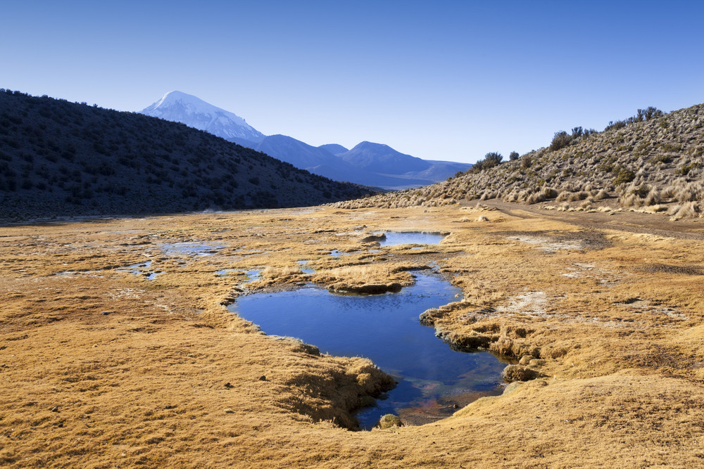 Flatland a stream before a distant, snow-capped mountain