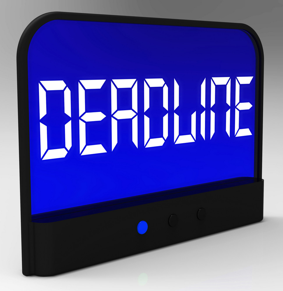Deadline On Clock Shows Pressure And Countdown