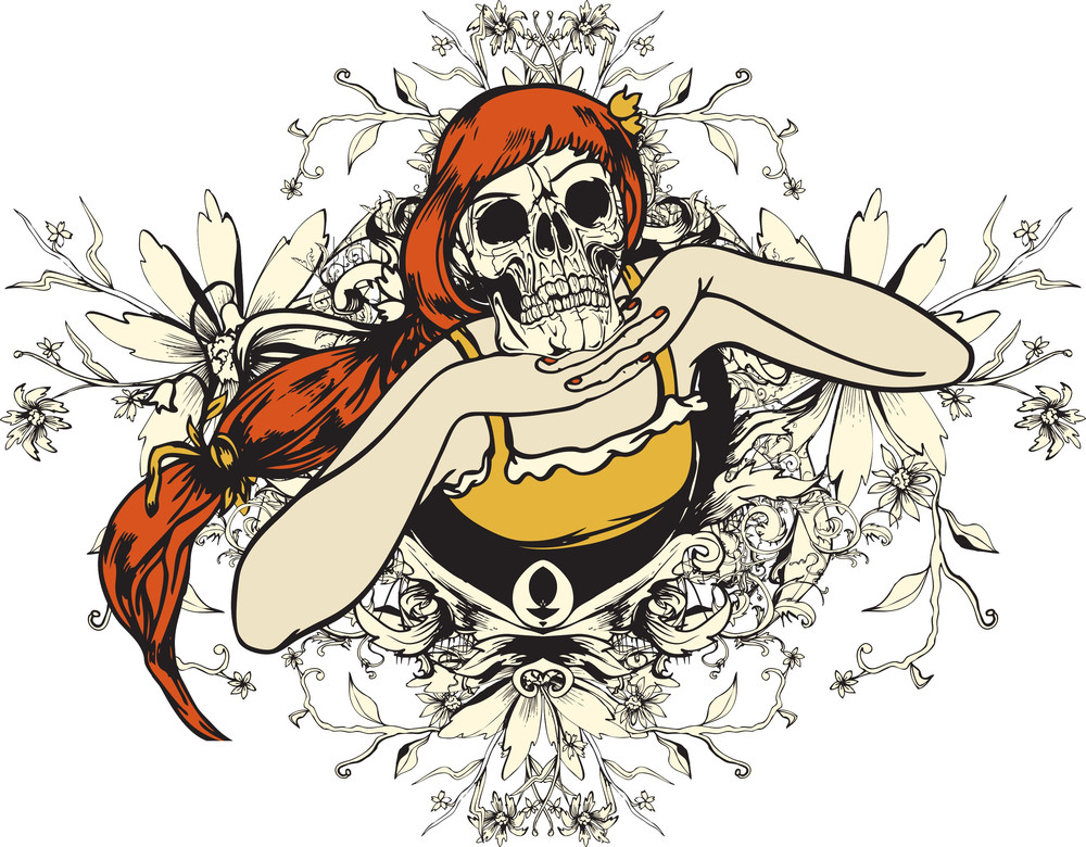 Death With Floral Vector T-shirt Design