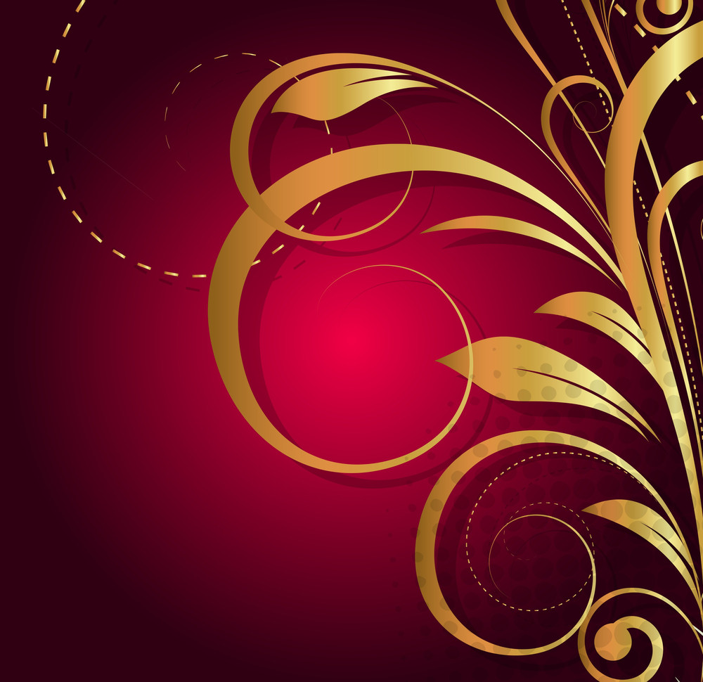 Decor Golden Floral Background