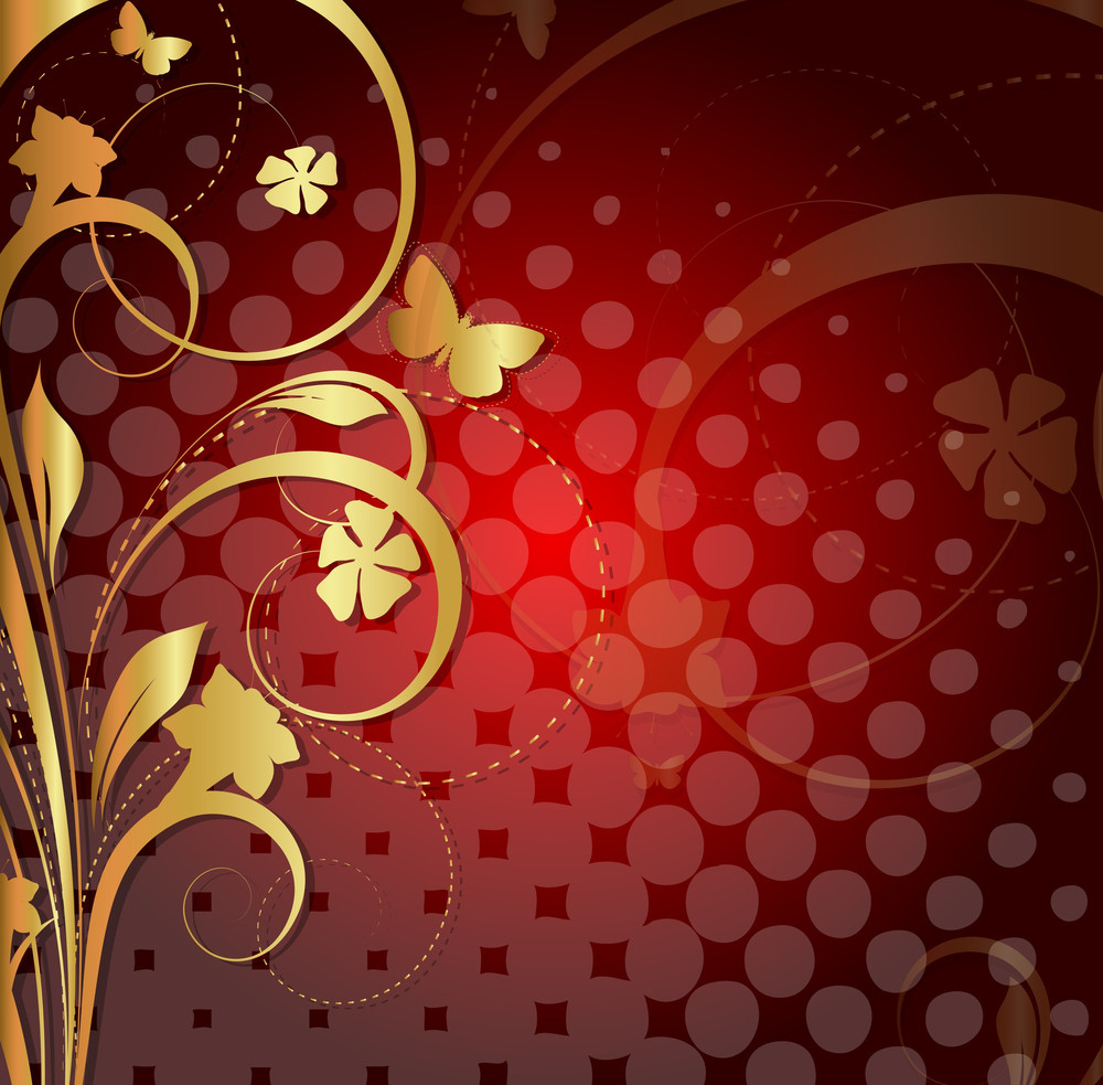 Decor Golden Floral Halftone Background