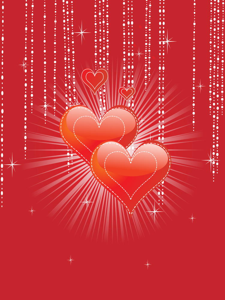 Decorated Background With Red Heart