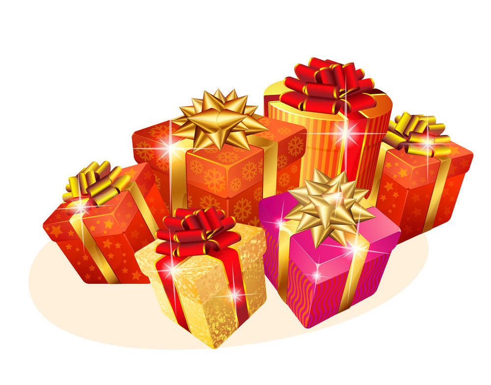 decorated christmas gift boxes with gold and red ribbons vector