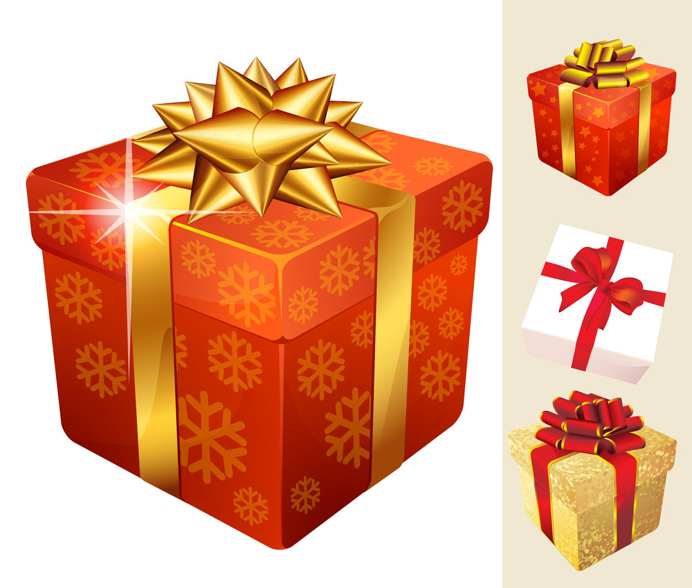 Decorated Christmas Gift Boxes With Gold And Red Ribbons. Vector.