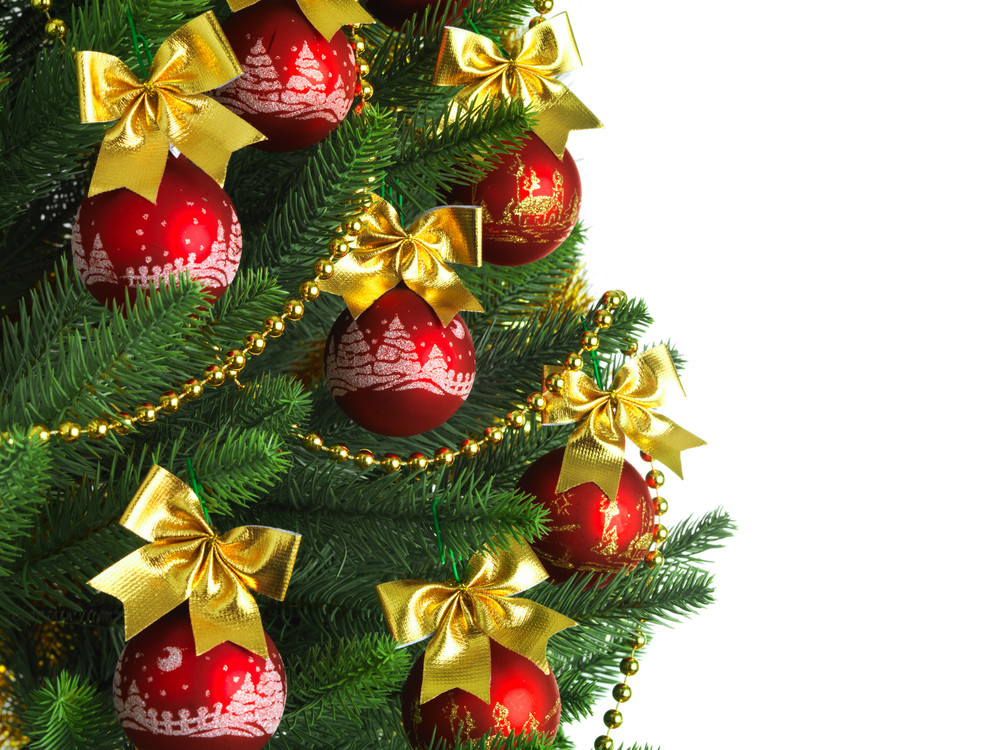 Christmas Tree Backgrounds.Decorated Christmas Tree On White Background Royalty Free