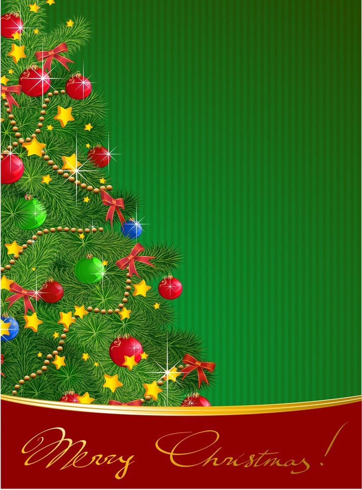Decorated Christmas Tree. Vector Template.