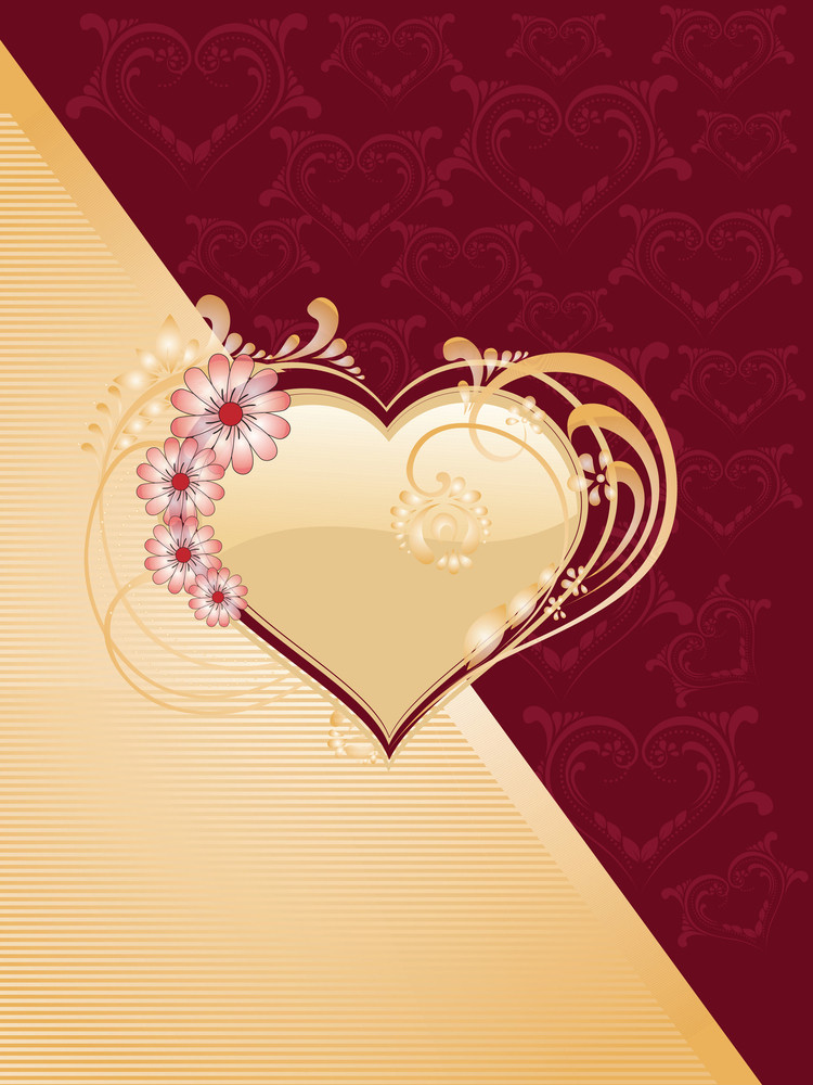 Decorated Heart With Background