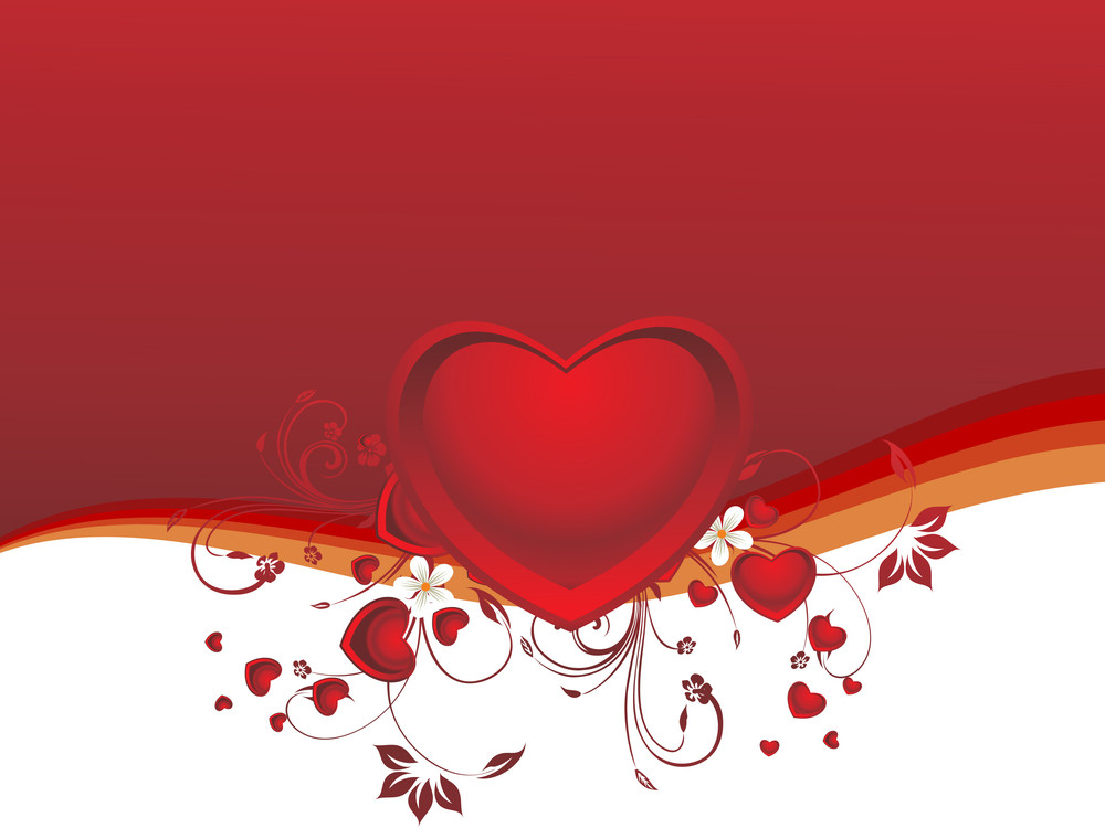 Decorated Red Heart With Background