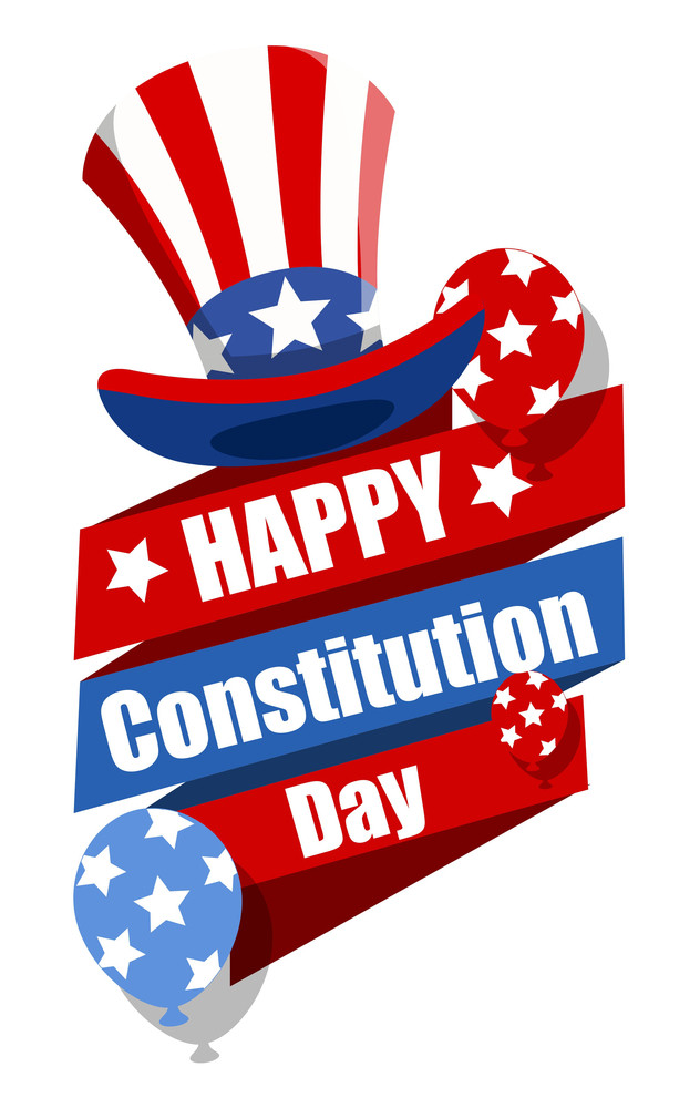 Decorative Banner With Uncle Sam Hat - Constitution Day Vector Illustration