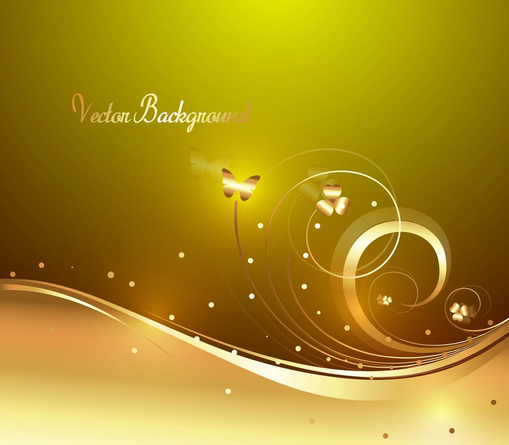Decorative Bright Golden Floral Backdrop