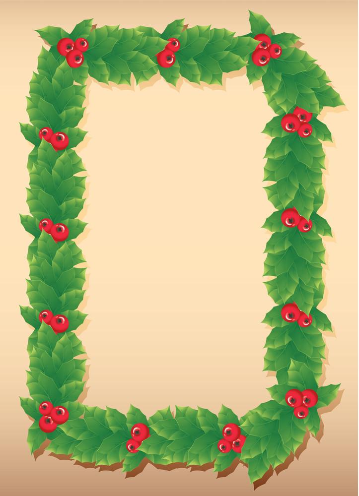 Decorative Christmas Holly Frame. Vector.