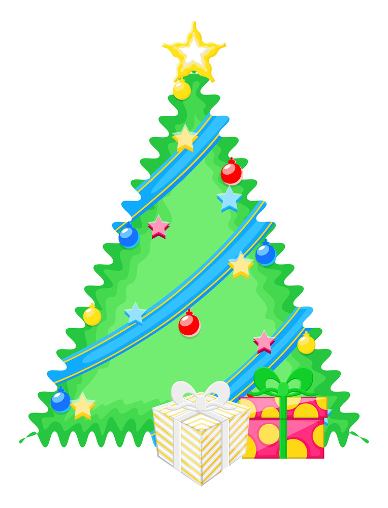 Decorative Christmas Tree With Gifts Vector
