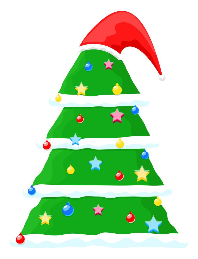 Decorative Chtistmas Tree With Santa Cap