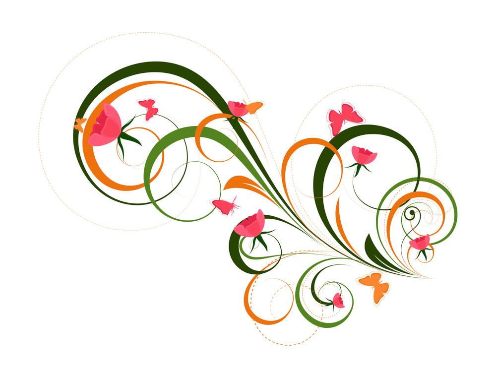 Decorative Colored Floral Art