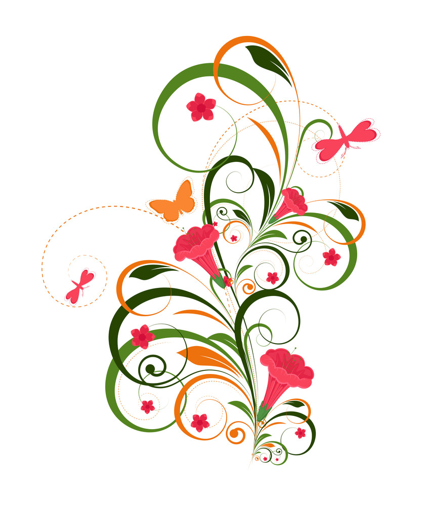 Decorative Colorful Flourish Design Background