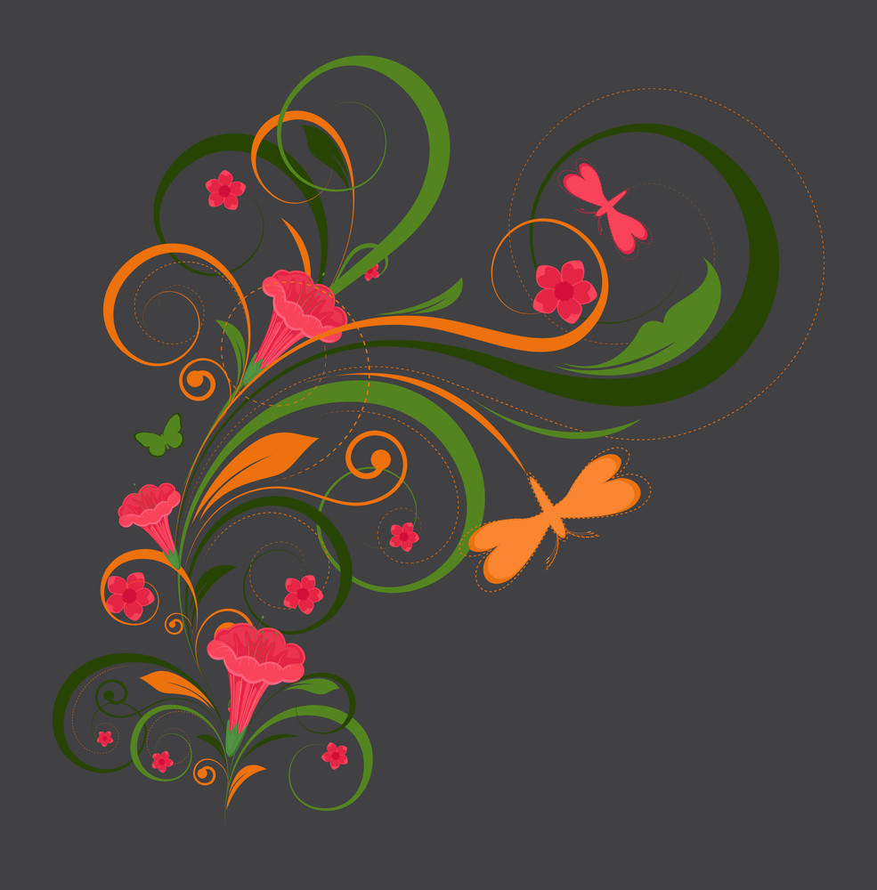 Decorative Floral Elements With Butterfly