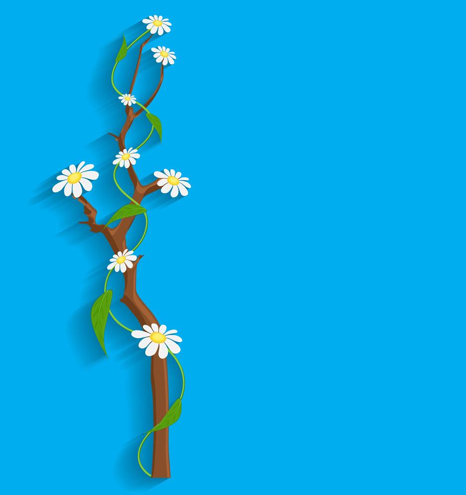 Decorative Flowers Branch Vector Banner