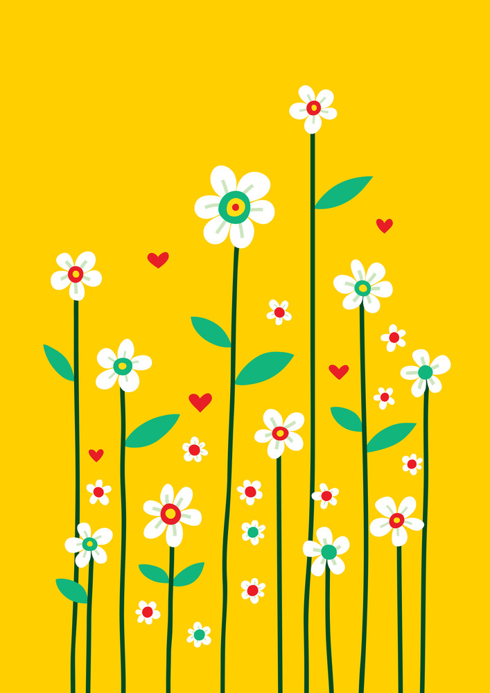 Decorative Flowers On Yellow Background