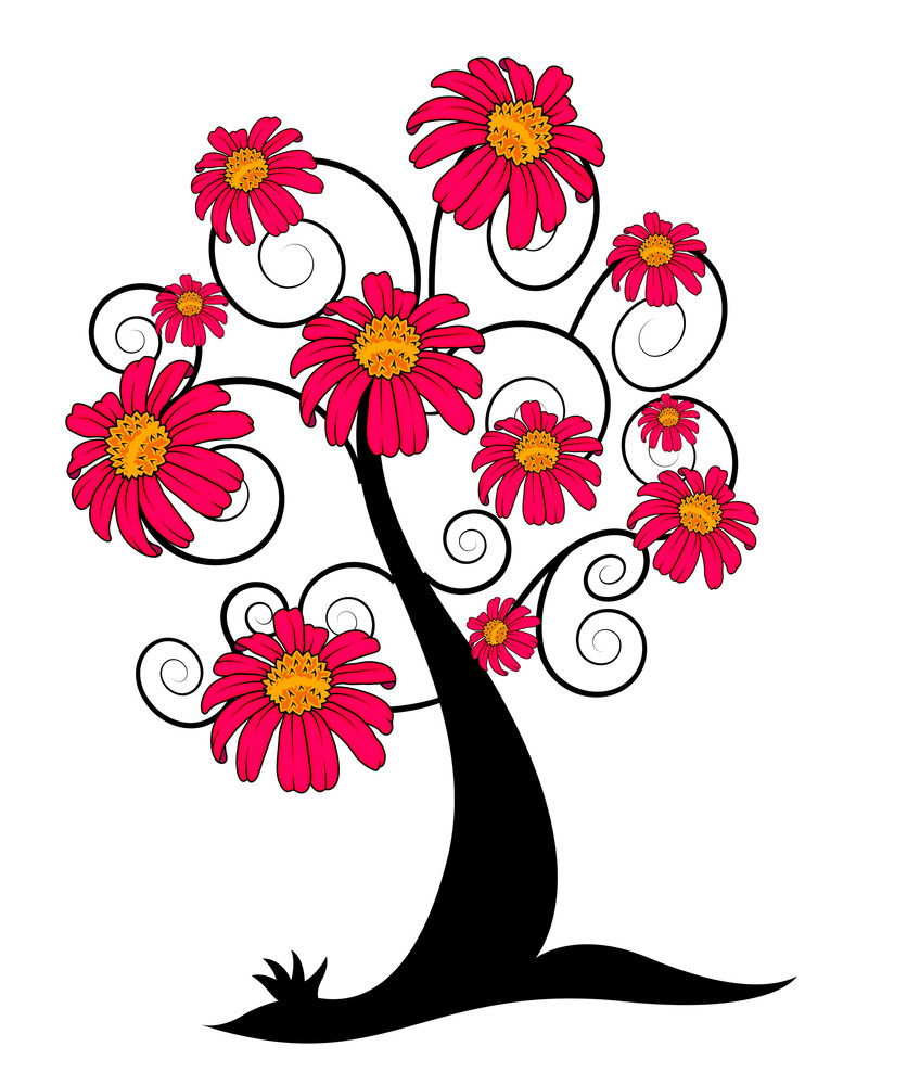 Decorative Flowers Tree Design