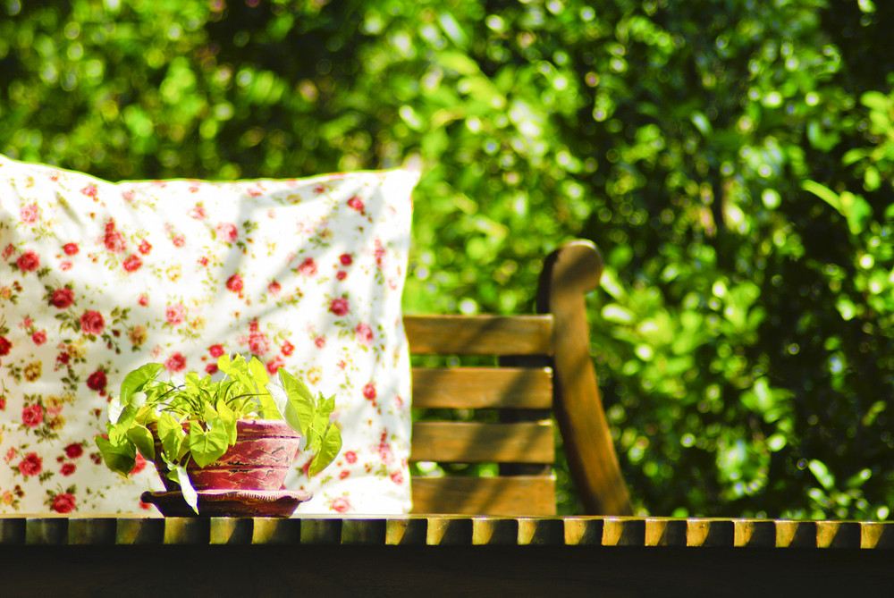 Decorative pillow natural Fabric on outdoor table