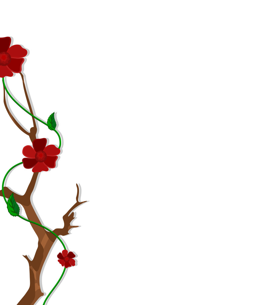 decorative red flower border frame royaltyfree stock