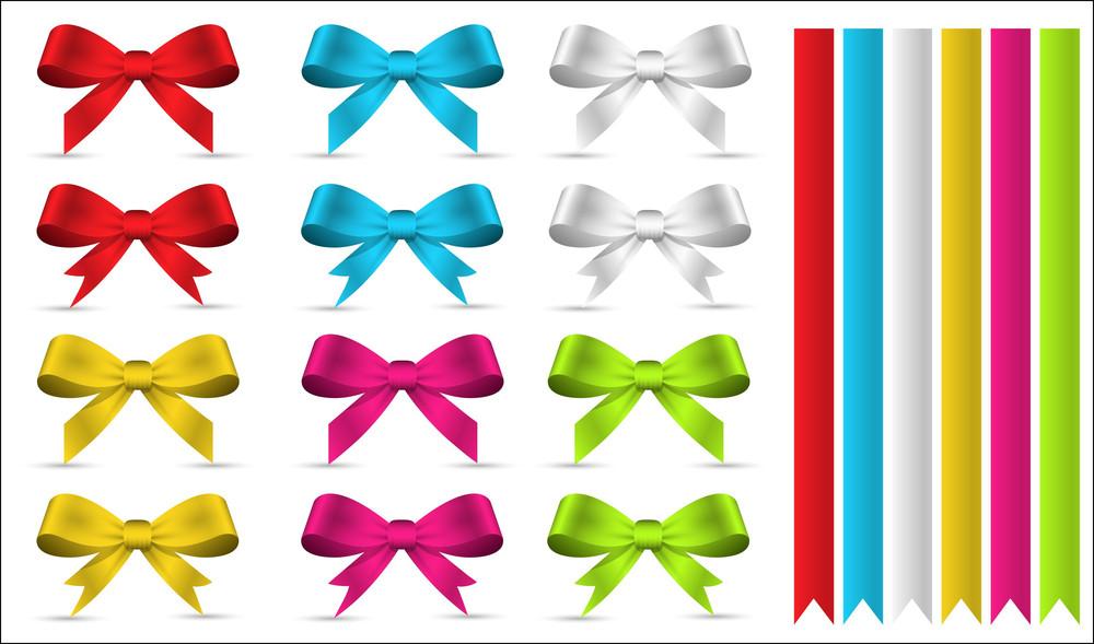 Decorative Ribbon Bows And Elements Vectors