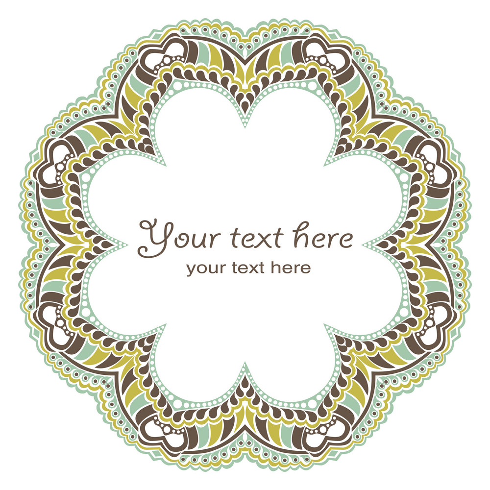 Decorative Round Frame In Winter Colors