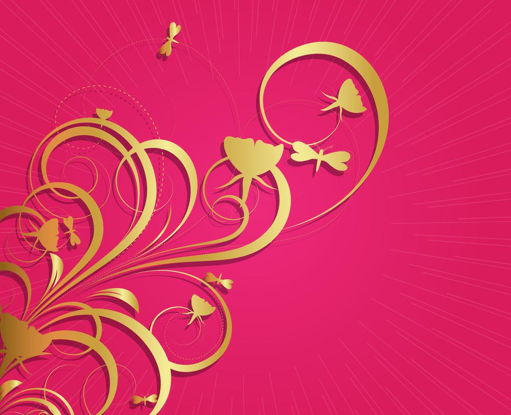 Decorative Royal Golden Floral Sunburst Background