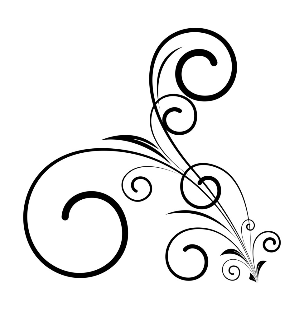 Decorative Swirl Floral Shape Design