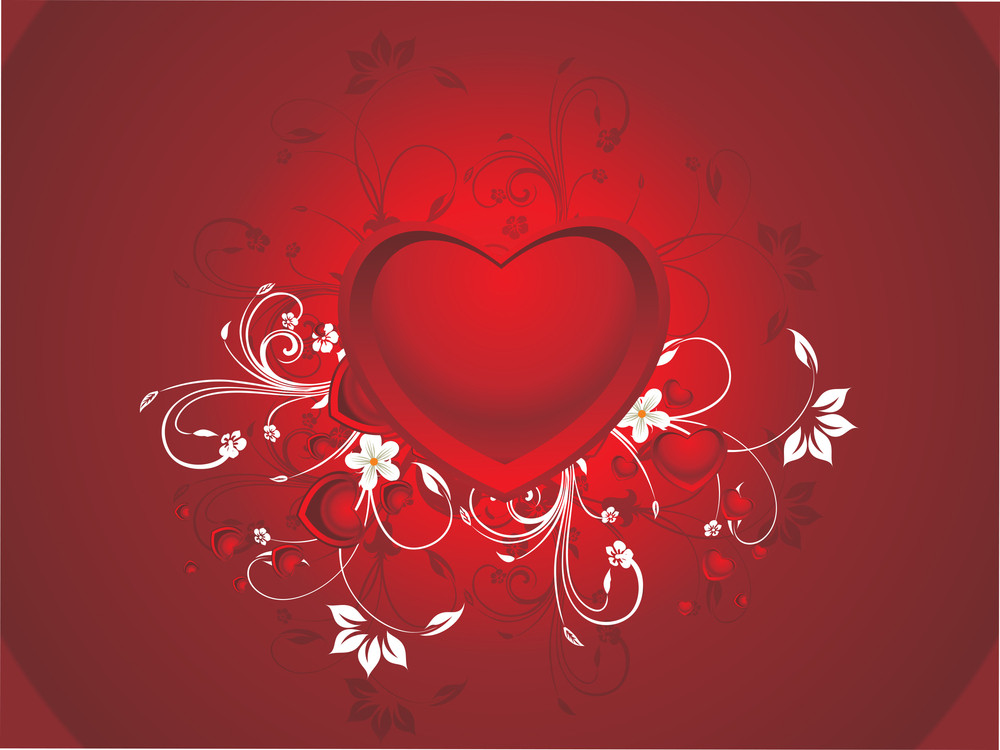 Decrated Red Heart With Background