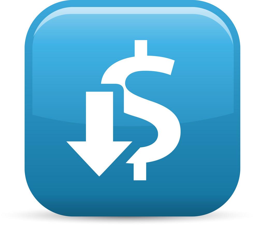 Decrease Revenue Elements Glossy Icon
