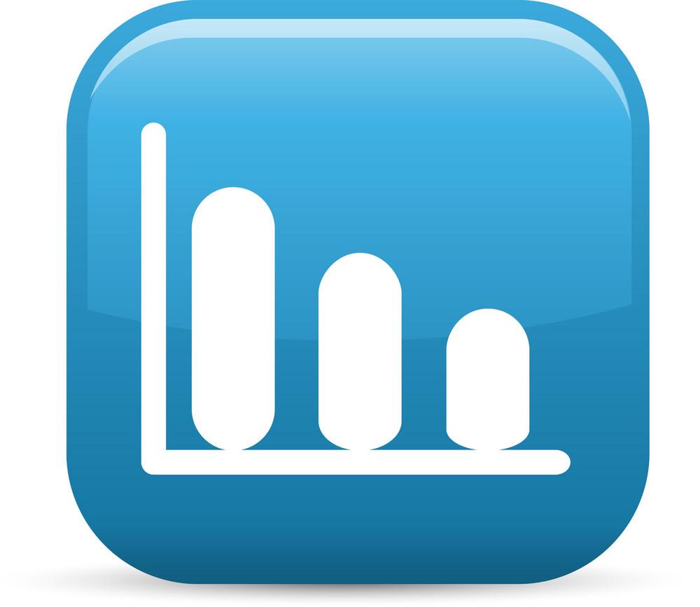 Decreasing Graph Elements Glossy Icon