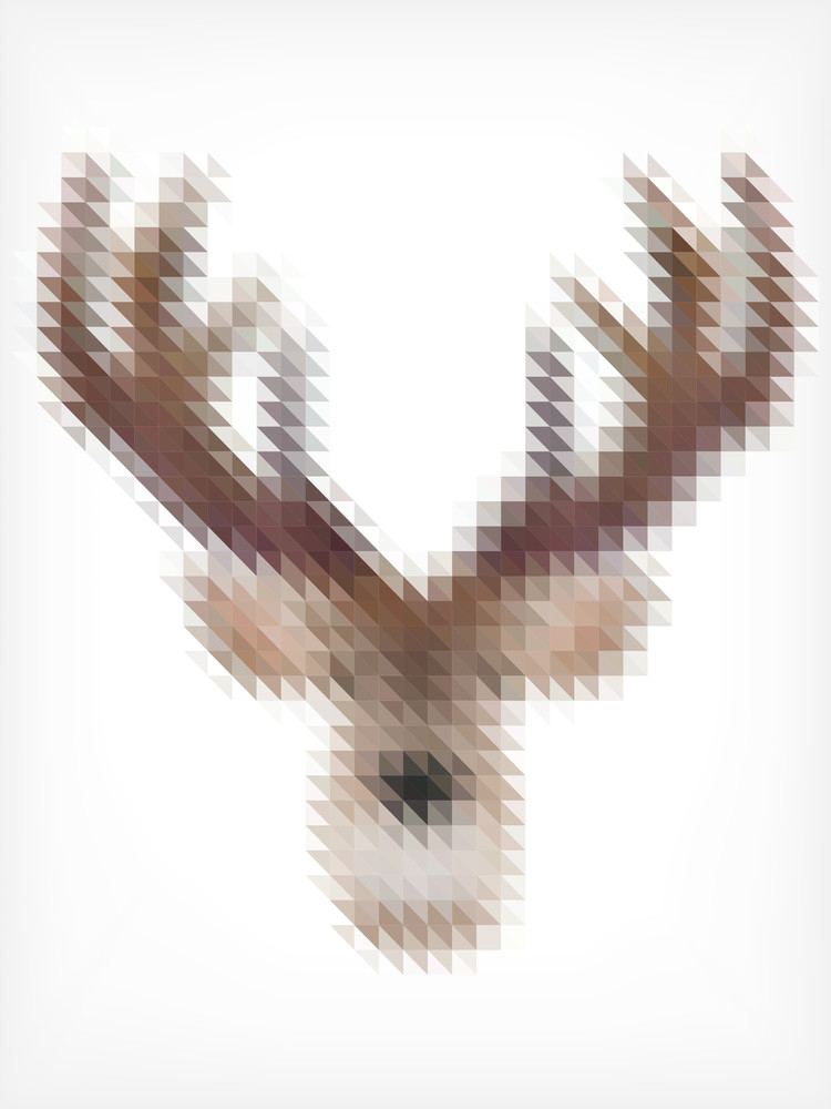 Deer Portrait Made Of Small Triangles