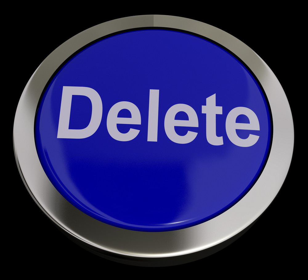 Delete Button In Blue To Erase Trash