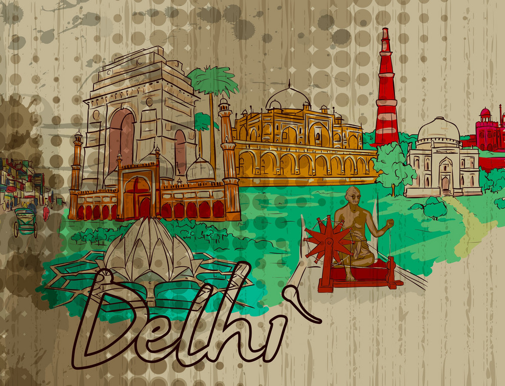 Delhi Doodles Vector Illustration