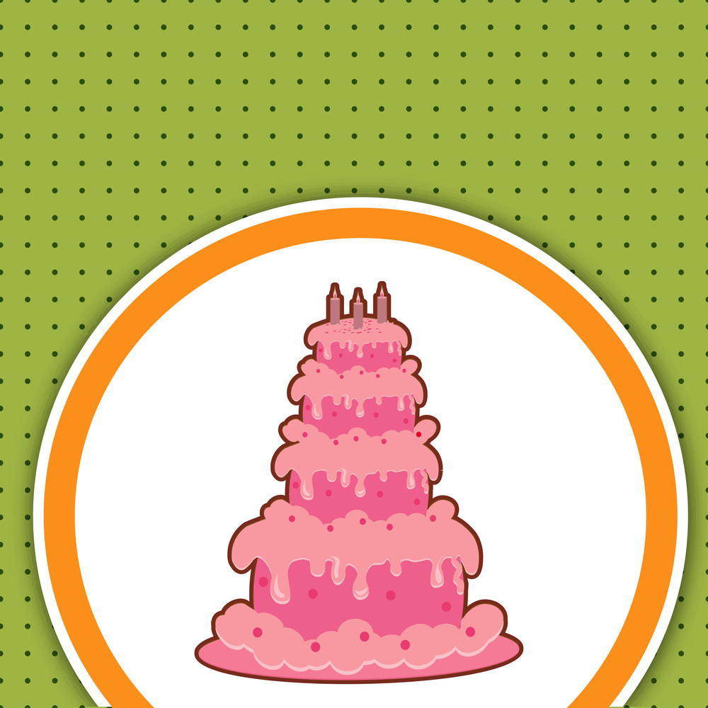 Delicious Birthday Cake On Vinatge Background