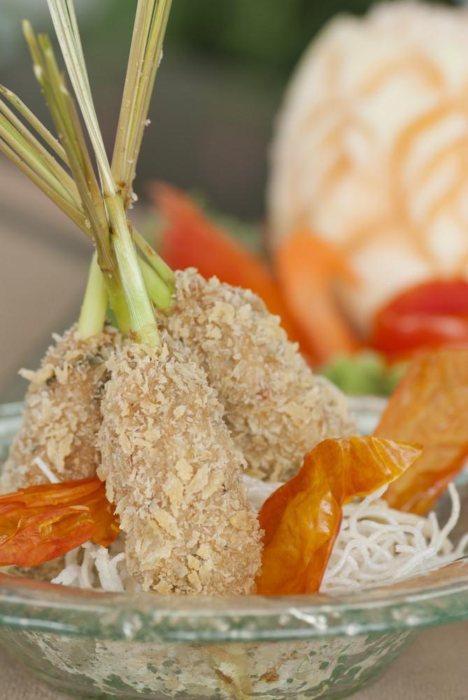 delicious tempura (deep fried prawn), shallow depth of field
